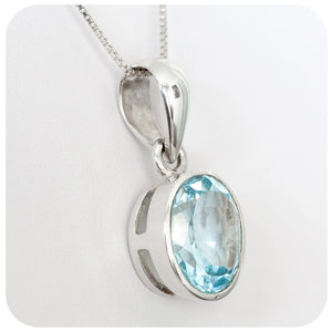 13x12mm Blue Topaz Pendant Solidly set in 925 Sterling Silver - Victoria's Jewellery