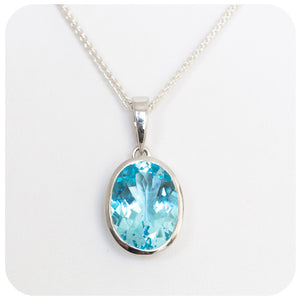 Lucious Blue 15mm Oval cut Blue Topaz Pendant Solidly set in 925 Sterling Silver - Victoria's Jewellery