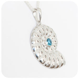 The Nautilus Blue Topaz Shell Pendant Charmingly Crafted in 925 Sterling Silver - Victoria's Jewellery