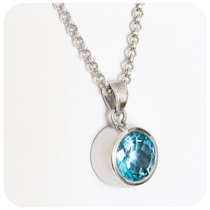 Strikingly Intense Blue Topaz Pendant Handmade in Sterling Silver - Victoria's Jewellery