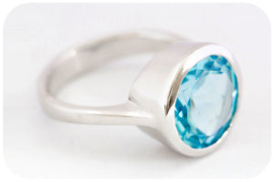 Blue Topaz Round cut Ring set in solid 925 Sterling Silver with a rounded Tube - Victoria's Jewellery