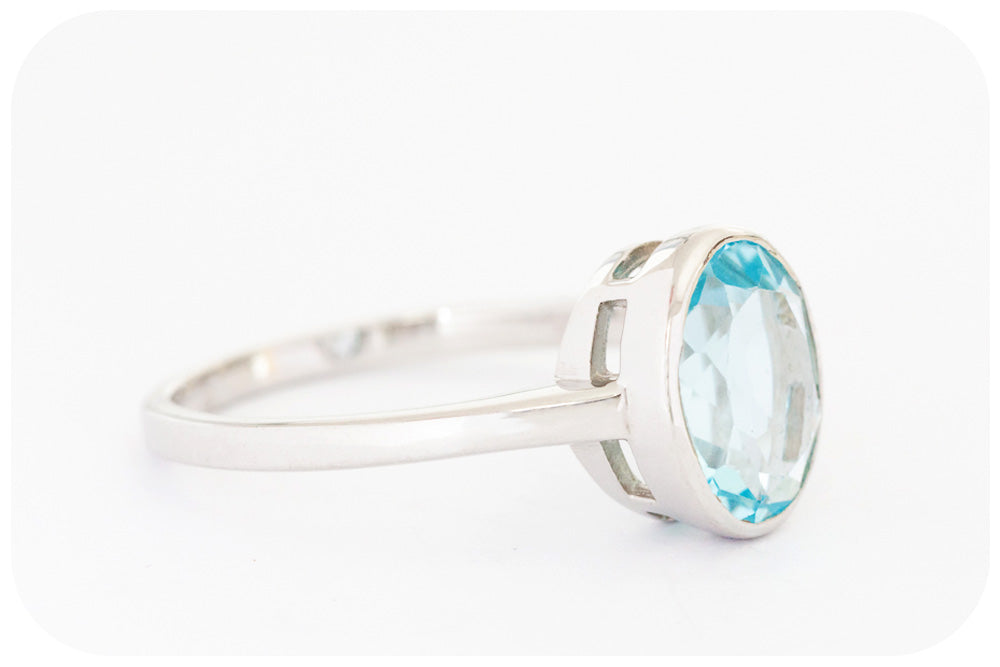Oval Cut Soft Blue Topaz Ring Crafted in 925 Sterling Silver - Victoria's Jewellery