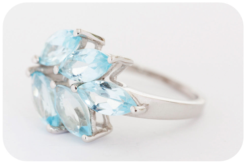 Organically Set Marquis Cut Sky Blue Topaz Ring crafted with 925 Sterling Silver - Victoria's Jewellery