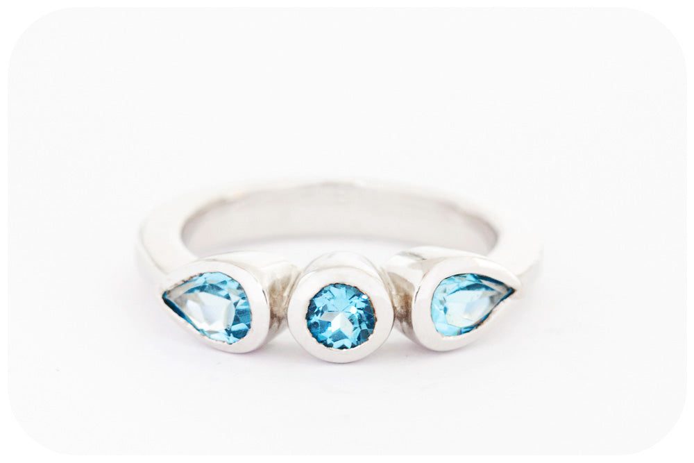 Stackable Round and Pear cut Blue Topaz Ring in 925 Sterling Silver - Victoria's Jewellery