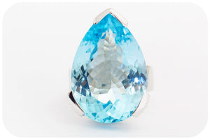 Big, bright Blue Topaz Pear cut Ring in 925 Sterling Silver - Victoria's Jewellery