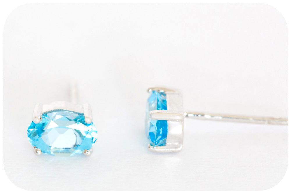 Radiant Gem Quality Blue Topaz Oval Cut Earrings in 925 Sterling Silver - Victoria's Jewellery