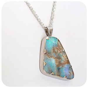 Magnificent Boulder Opal Necklace in Sterling Silver