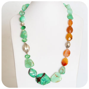 Enchanting Apple and Mint Green Chrysoprase strung with invitingly rich warm Carnelian Necklace - Victoria's Jewellery