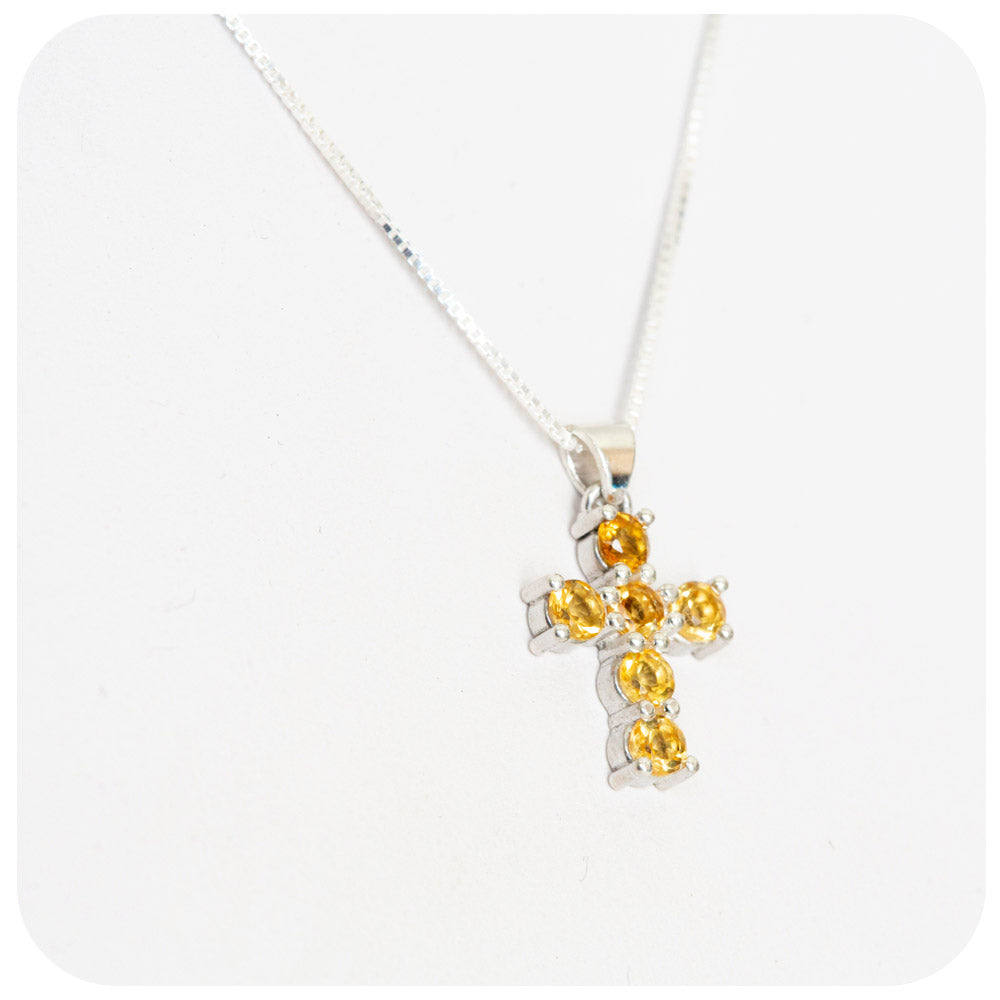 Round cut Citrine Cross Necklace in Sterling Silver