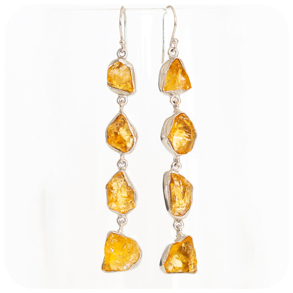 Rough cut Citrine Earrings - Victoria's Jewellery