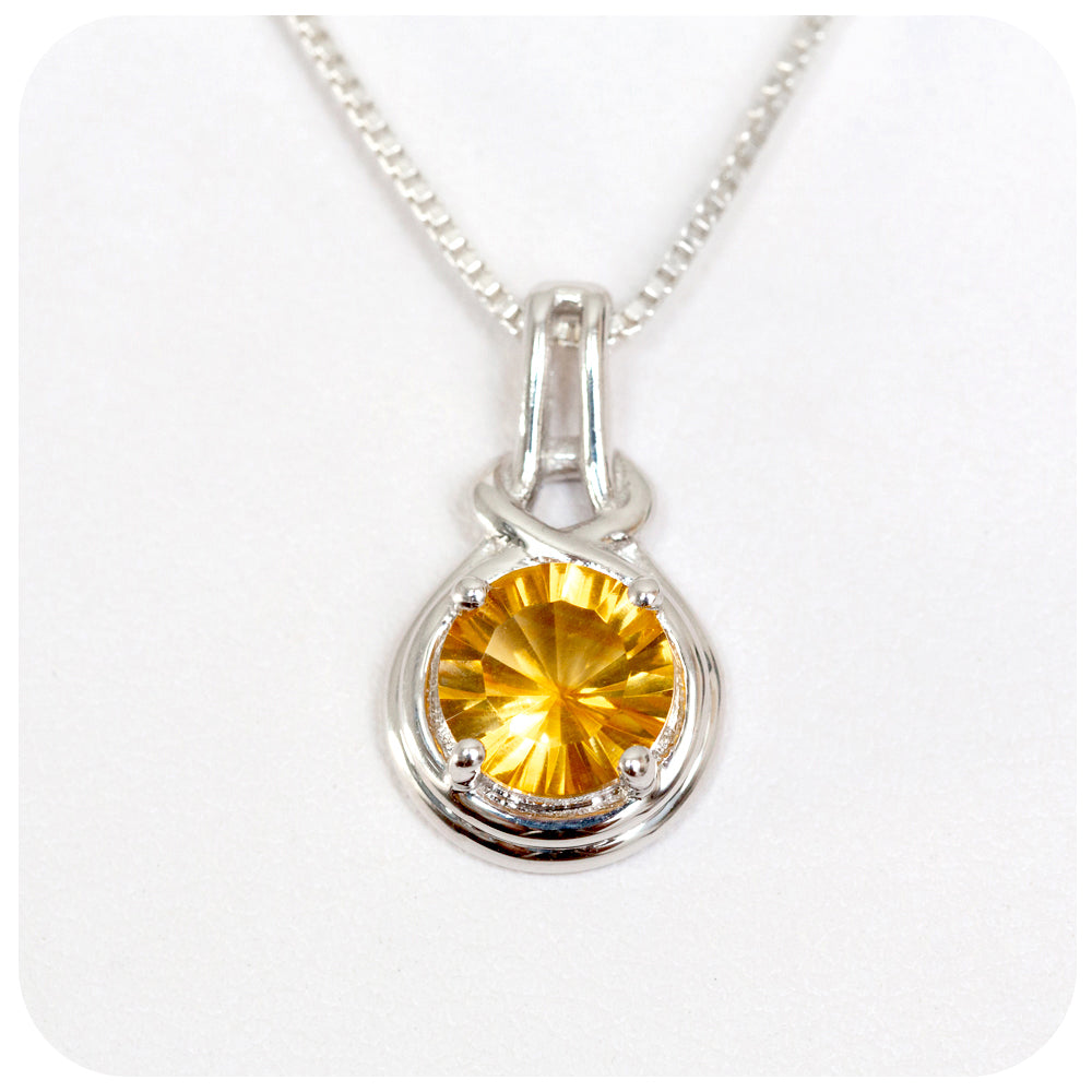 Round Cut Starburst Citrine Pendant in Sterling Silver - Victoria's Jewellery