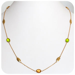 Yellow Gold Necklace with Citrine and Peridot - Victoria's Jewellery