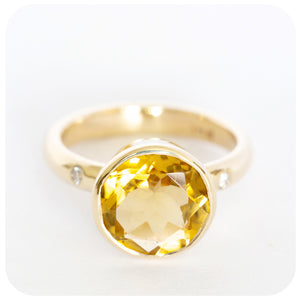 Gem Quality Citrine Ring Hand Crafted in Solid 9ct Yellow Gold With Diamond Set Shoulders - Victoria's Jewellery