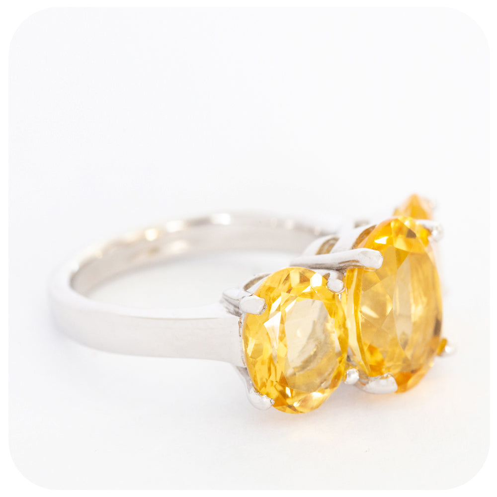 Stunning Trilogy Oval Cut Citrine Ring Crafted in 925 Sterling Silver - Victoria's Jewellery