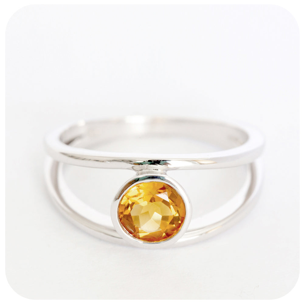 Split-band Citrine Ring Crafted in 925 Sterling Silver with a fine Rhodium finish - Victoria's Jewellery