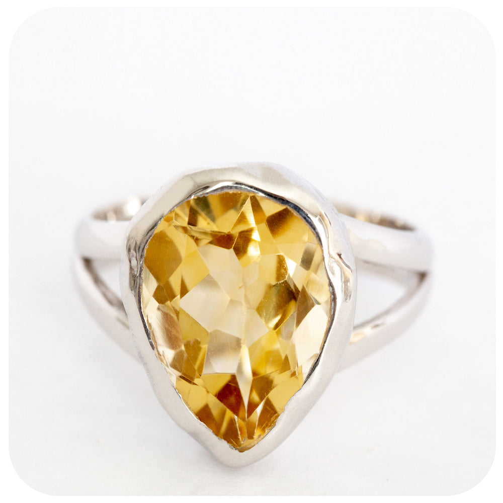 Brightly Shining Pear Cut Citrine Ring crafted in 925 Sterling Silver - Victoria's Jewellery