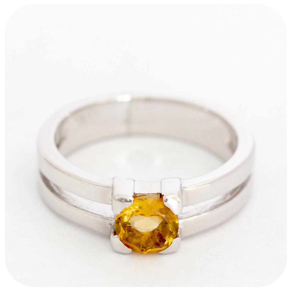 Elegantly Modern Citrine Ring crafted in 925 Sterling Silver - Victoria's Jewellery