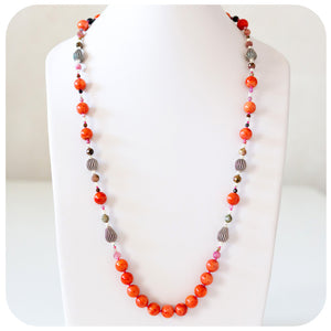 Coral, Tourmaline and Silver detail Necklace with Hematite - Victoria's Jewellery