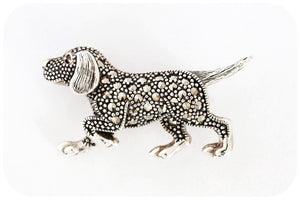 Dog Marcasite Brooch crafted in 925 Sterling Silver - Victoria's Jewellery