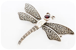 Stunning Winged Dragonfly Brooch with Marcasite and Garnet in 925 Sterling Silver - Victoria's Jewellery