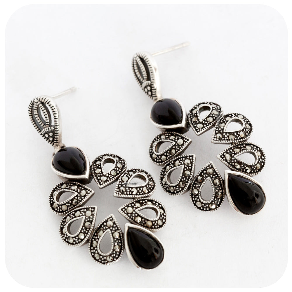 Silver Marcasite and Onyx Drop Earring - Victoria's Jewellery