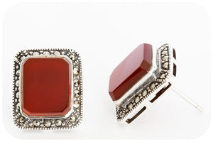Silver Marcasite and Carnelian Earring - Victoria's Jewellery
