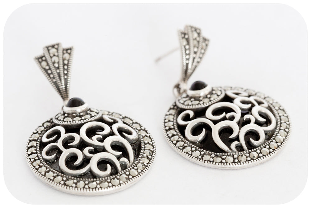 Silver Marcasite and Onyx Earring - Victoria's Jewellery