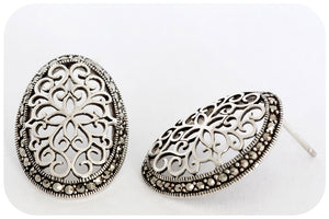 Jardin Du Château de Versailles Filigree and Marcasite Earrings in 925 Sterling Silver - Victoria's Jewellery
