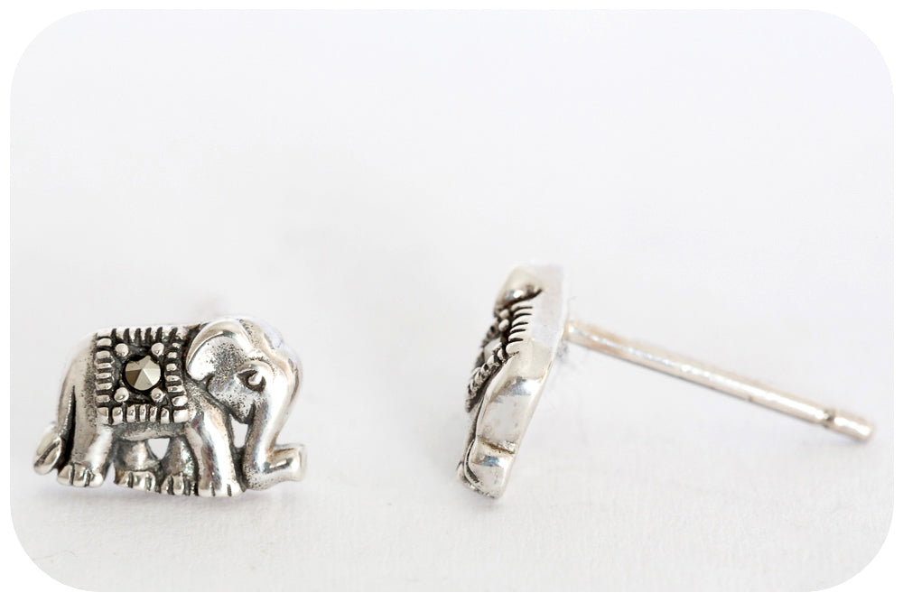 Silver Marcasite Elephant Earring - Victoria's Jewellery