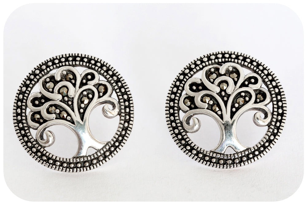 Silver Marcasite Tree of Life Earring delicately crafted in 925 Sterling Silver - Victoria's Jewellery