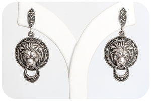 Marcasite Lion Head Earring in 925 Sterling Silver - Victoria's Jewellery