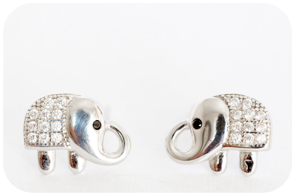 Silver Elephant Cubic Zirconia Earring - Victoria's Jewellery