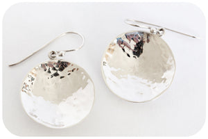 Silver Hammered Dome Earring - Victoria's Jewellery