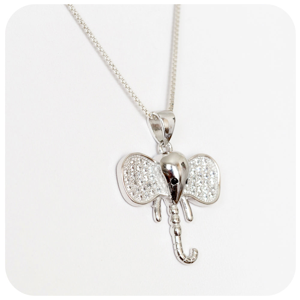 Sterling Silver Elephant Pendant with Cubic Zirconia Detail - Victoria's Jewellery