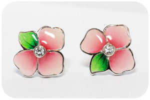 Silver Flower Enamel Earrings (Pink) - Victoria's Jewellery
