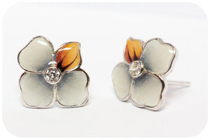 Silver Flower Enamel Earrings (Grey) - Victoria's Jewellery