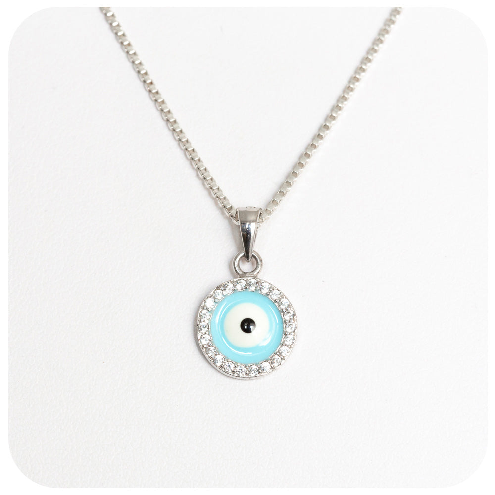 Evil Eye Enamel Pendant - 10mm - Victoria's Jewellery