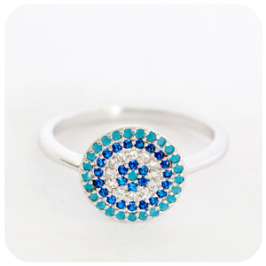 "Sterling Silver ""Evil Eye"" Mythology Ring crafted with colourful Cubic Zirconia's - Victoria's Jewellery"
