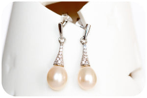 Fresh Water Pearl and Cubic Zirconia Earring - Victoria's Jewellery