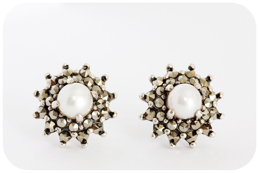 Fresh Water Pearl and Marcasite Stud Earring crafted in 925 Sterling Silver - Victoria's Jewellery
