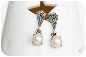 Marcasite and Fresh Water Pearl Earring in 925 Sterling Silver - Victoria's Jewellery