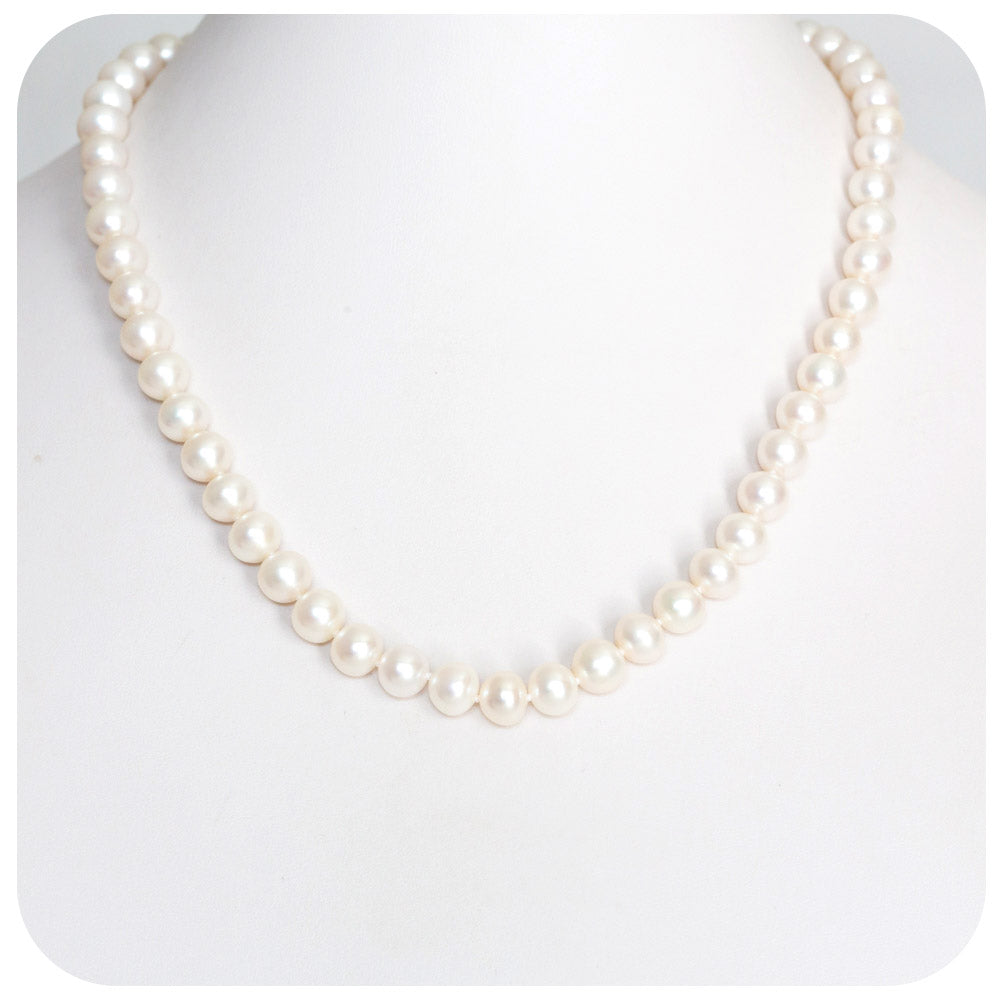 7.5 to 8mm Lustrous White Fresh Water Pearl Necklace - 46cm