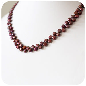 Fern Fresh Water Pearl Button Necklace - 46cm