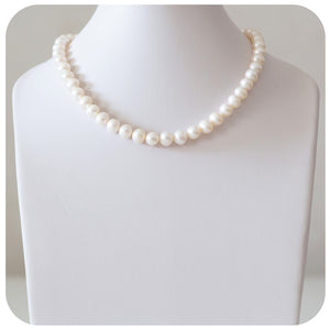 White Fresh Water Pearl Necklace - 9-9.5mm