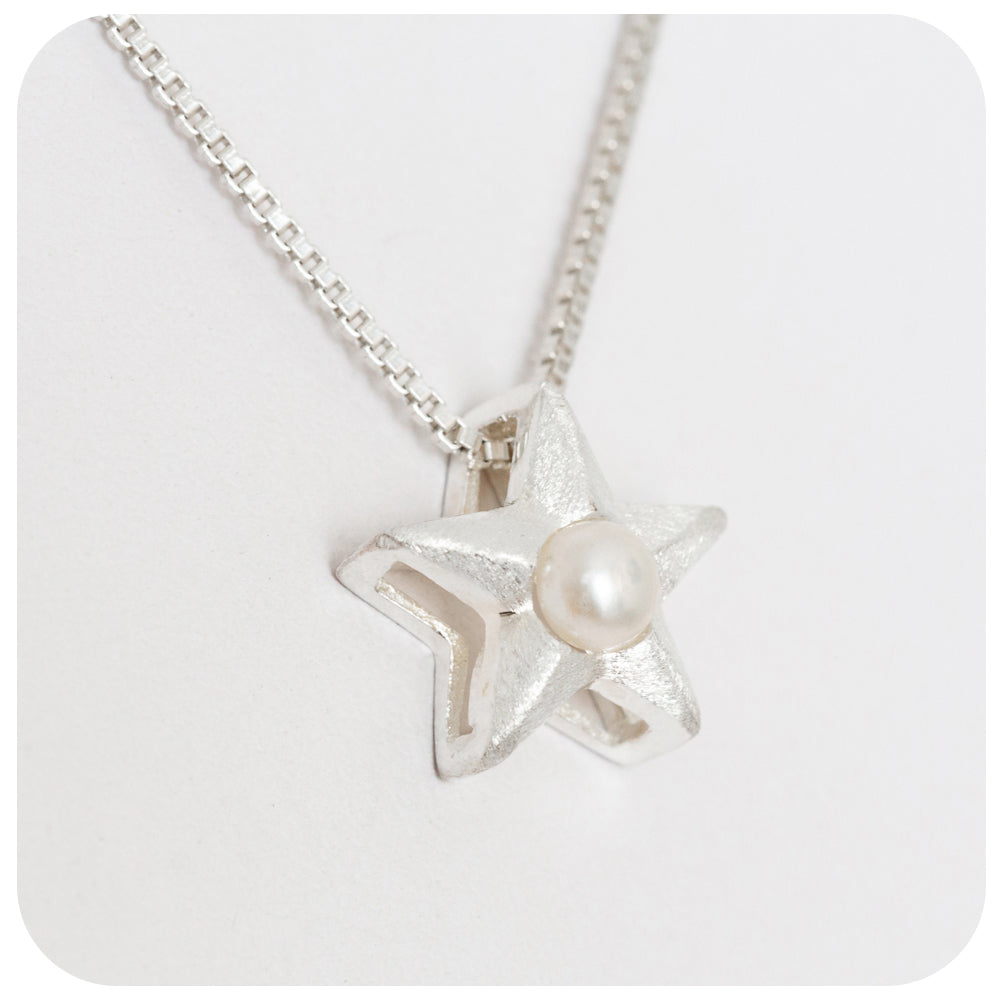 Silver Pendant Star Pendant with Fresh Water Pearl - Victoria's Jewellery