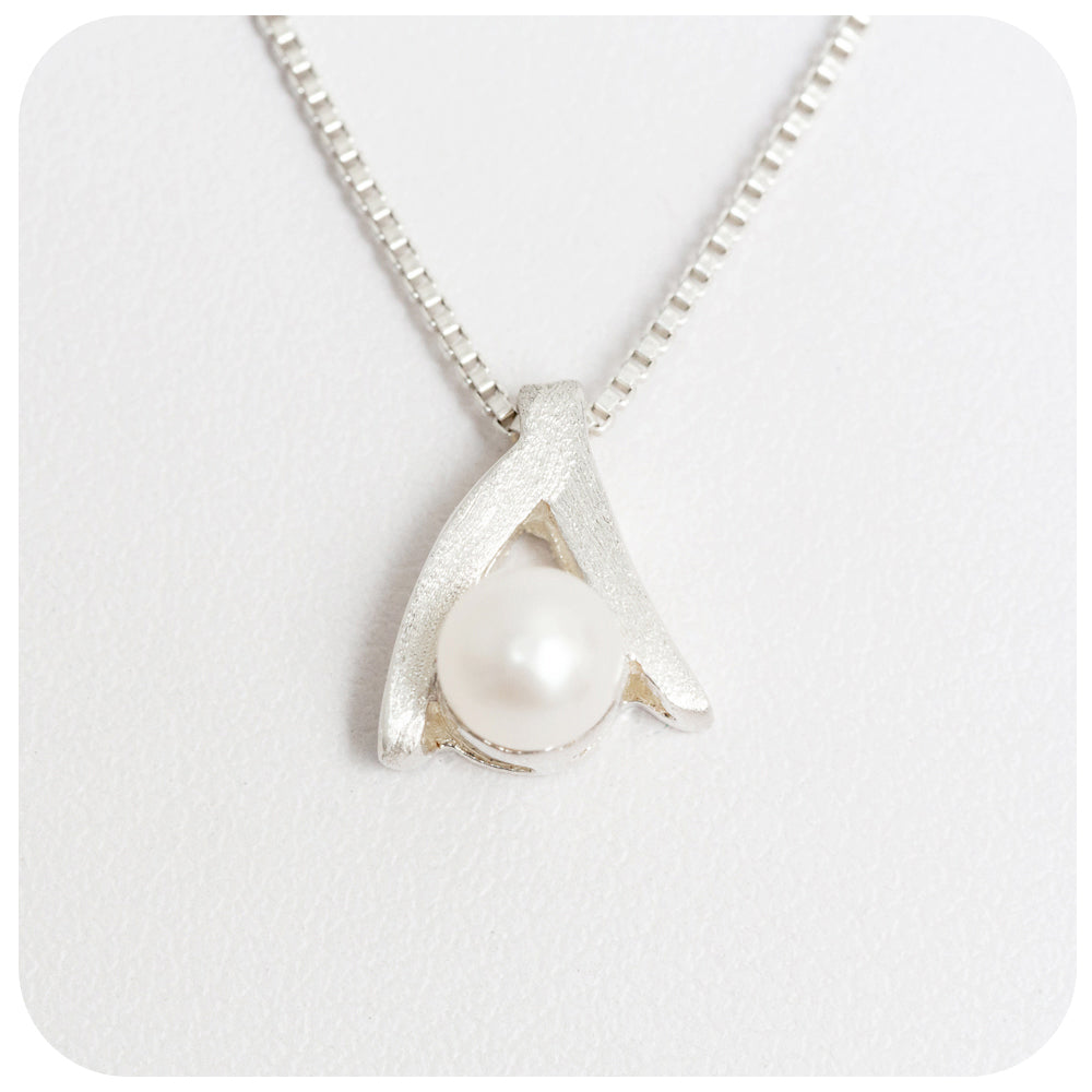 Sterling Silver Wishbone Pendant with Fresh Water Pearl - Victoria's Jewellery