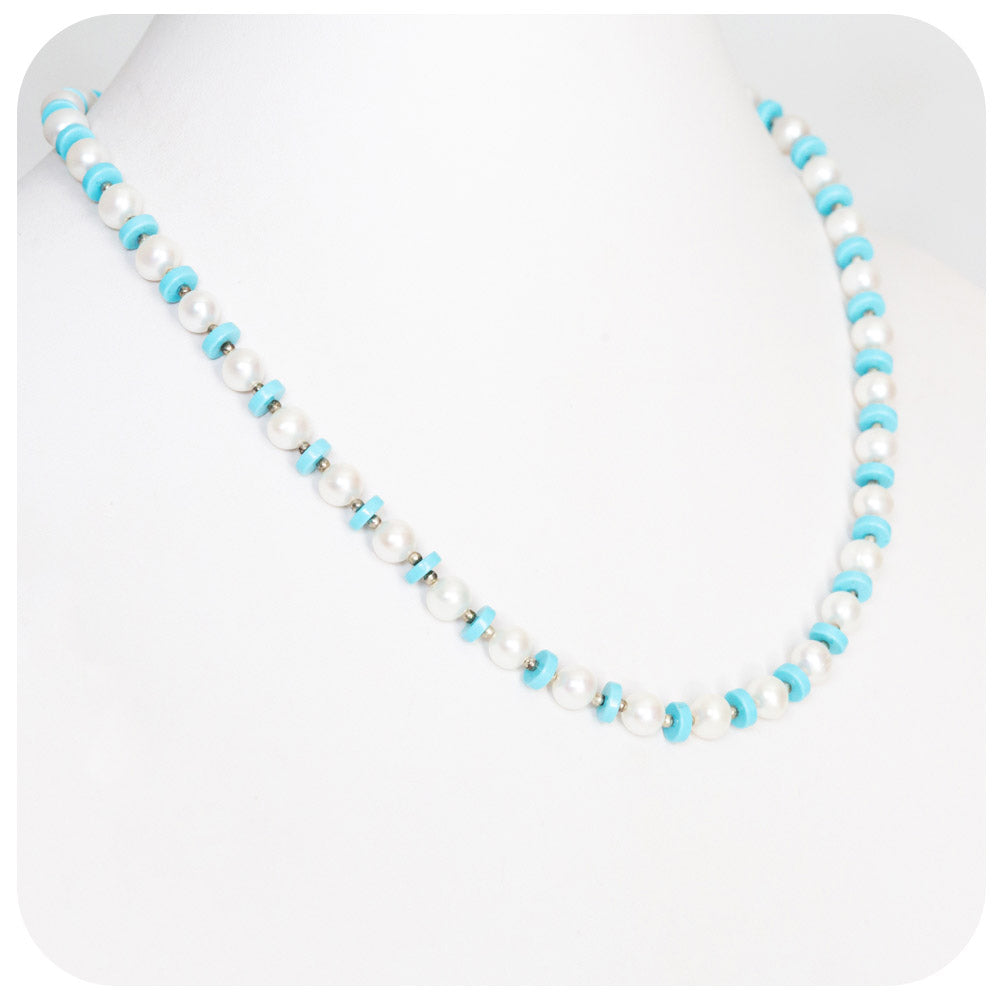 White Fresh Water Pearl and Turquoise Necklace - 46cm