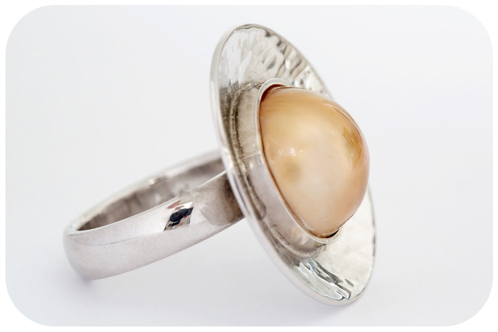 Gold Mabe Pearl set in a Silver Hammered Dome - Victoria's Jewellery