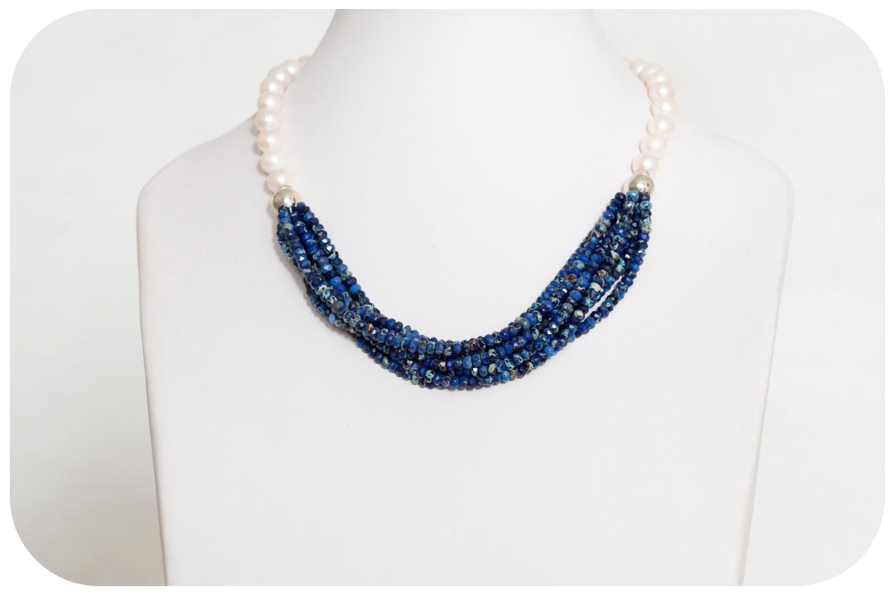 Howlite, Silver balls and Pearl Necklace - Victoria's Jewellery