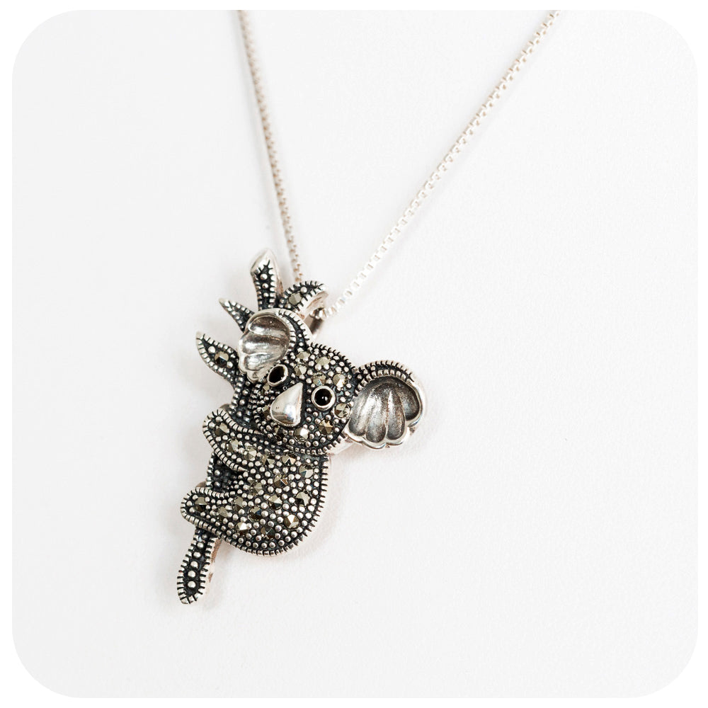 Superbly crafted Koala Bear Brooch and Pendant in 925 Sterling Silver - Victoria's Jewellery